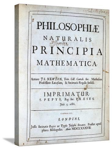 Title Page of Newton's Philosophiae Naturalis Principia Mathematica, 1687--Stretched Canvas Print