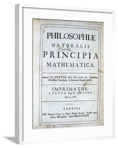 Title Page of Newton's Philosophiae Naturalis Principia Mathematica, 1687--Framed Art Print