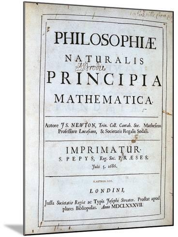Title Page of Newton's Philosophiae Naturalis Principia Mathematica, 1687--Mounted Giclee Print