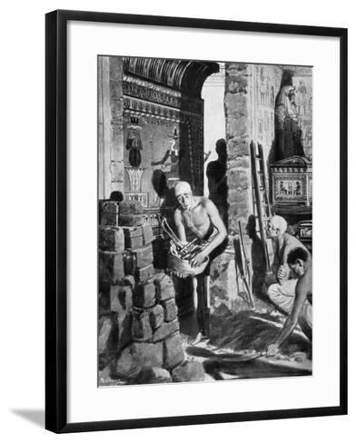 The Final Interior Decoration and Sealing of Tutankhamun's Tomb, Egypt, 1325 BC-Fortunino Matania-Framed Art Print