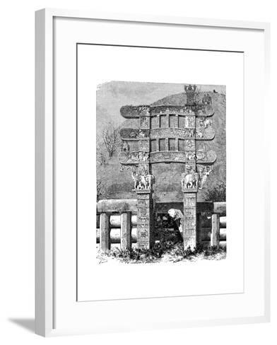 The East Gate of the Sanchi Tope, India, 1895--Framed Art Print