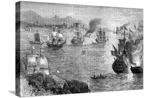 Captain Morgan's Defeat of the Spanish Fleet, 1660S--Stretched Canvas Print