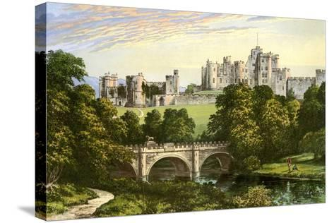 Alnwick Castle, Northumberland, Home of the Duke of Northumberland, C1880-Benjamin Fawcett-Stretched Canvas Print