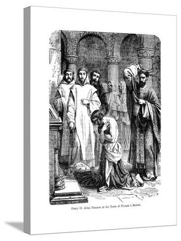 King Henry II Doing Penance at the Tomb of Thomas a Becket, Canterbury Cathedral--Stretched Canvas Print