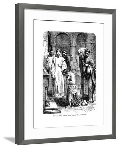 King Henry II Doing Penance at the Tomb of Thomas a Becket, Canterbury Cathedral--Framed Art Print