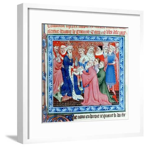 Marco Polo, Venetian Traveller and Merchant Meeting Kublai Khan, 13th Century--Framed Art Print