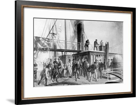 The 'Great Eastern' Recovering the Lost Atlantic Cable, 1866-Robert Dudley-Framed Art Print