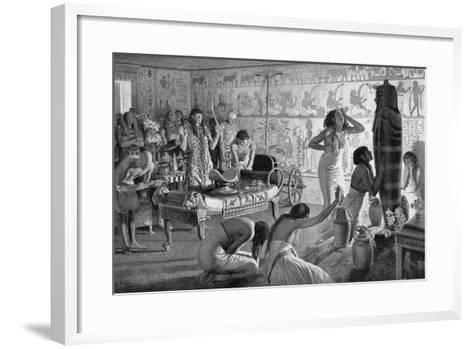 Scene of Mourning at the Funerary Temple of Tutankhamun, Egypt, 1325 BC (1933-193)-Fortunino Matania-Framed Art Print