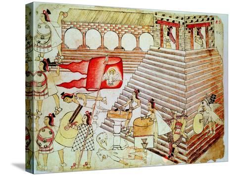 Aztec Warriors Defending the Temple of Tenochtitlan Against Conquistadors, 1519-1521--Stretched Canvas Print