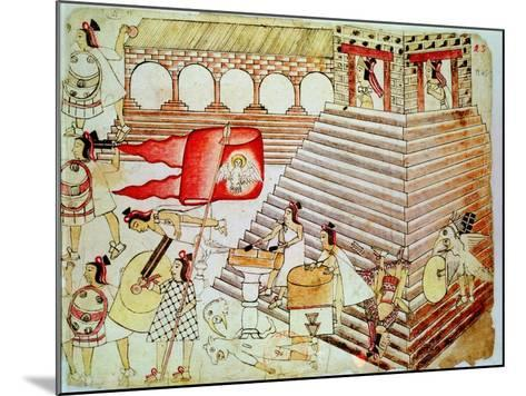 Aztec Warriors Defending the Temple of Tenochtitlan Against Conquistadors, 1519-1521--Mounted Giclee Print