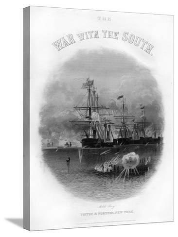 Fleet Passing the Fort and Obstructions, Battle of Mobile Bay, August 5, 1864--Stretched Canvas Print