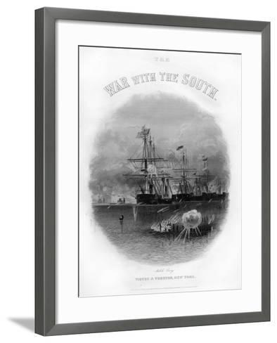 Fleet Passing the Fort and Obstructions, Battle of Mobile Bay, August 5, 1864--Framed Art Print