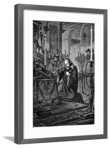 Galileo Galilei, Italian Astronomer and Mathematician Recanting, 1633--Framed Art Print