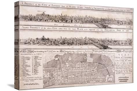 Map of London-Christopher Wren-Stretched Canvas Print