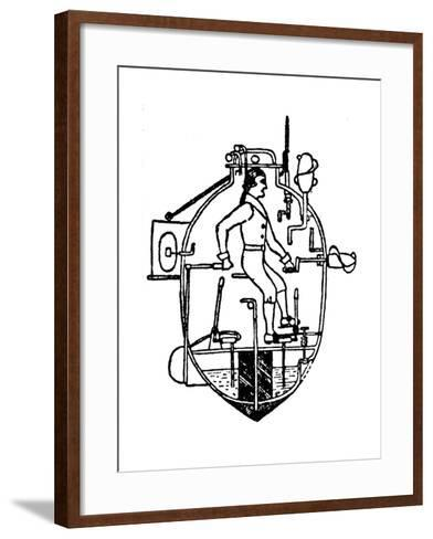 American Vessel 'Turtle', the First Submarine to Be Used in War, 19th Century--Framed Art Print