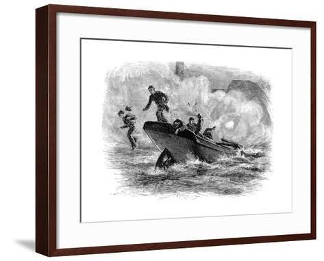 Lieutenant Cushing's Attack on the 'Albemarle, C1880--Framed Art Print