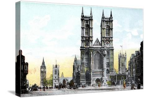 Westminster Abbey and Big Ben, London, 20th Century--Stretched Canvas Print