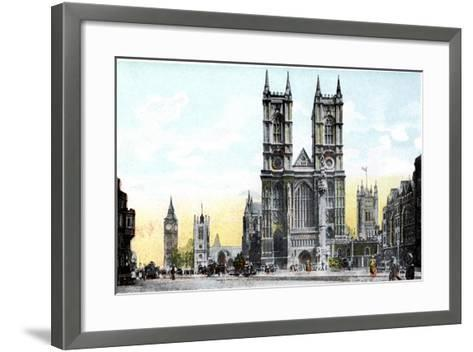 Westminster Abbey and Big Ben, London, 20th Century--Framed Art Print