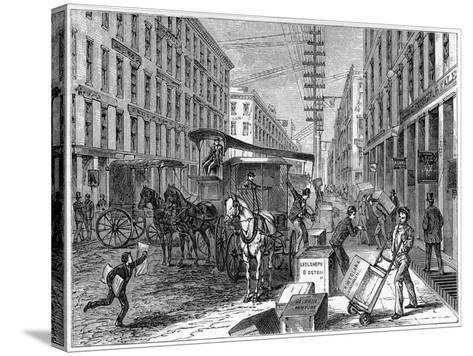 Deliveries and Collections Taking Place at Wells Fargo Depot, New York, USA, 1875--Stretched Canvas Print