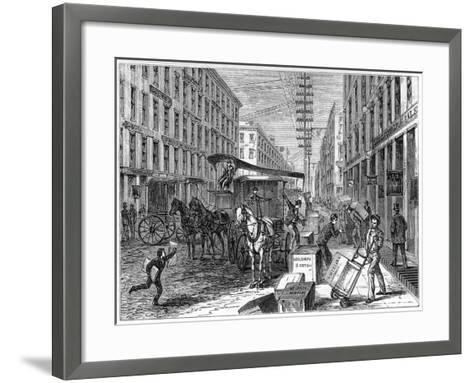 Deliveries and Collections Taking Place at Wells Fargo Depot, New York, USA, 1875--Framed Art Print