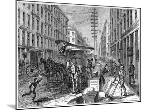 Deliveries and Collections Taking Place at Wells Fargo Depot, New York, USA, 1875--Mounted Giclee Print