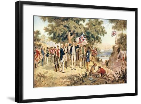 Captain James Cook Taking Possession of New South Wales in the Name of the British Crown, 1770--Framed Art Print