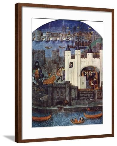 The Tower of London with London Bridge, C1500, (C1900-192)--Framed Art Print