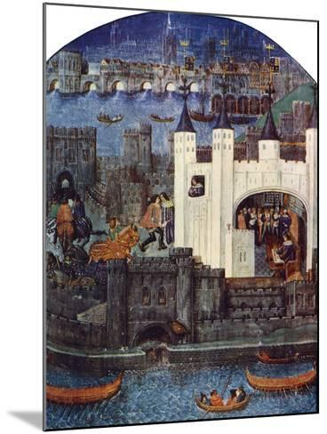 The Tower of London with London Bridge, C1500, (C1900-192)--Mounted Giclee Print