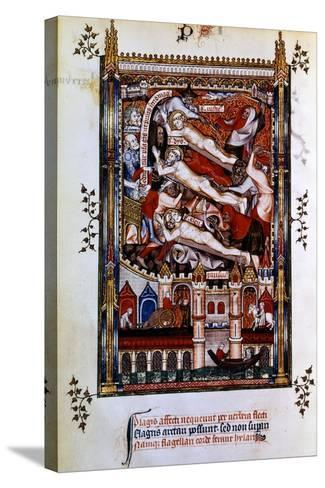 Flagellation of St Denis, St Rustic and St Eleutherius, 1317--Stretched Canvas Print