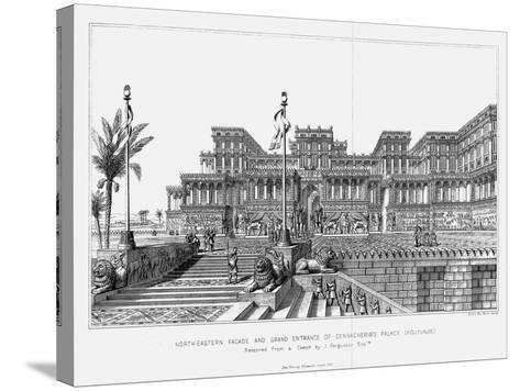 Reconstruction of the North-Eastern Façade of Sennacherib's Palace (Kouyunji), Assyrian, 1853--Stretched Canvas Print