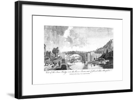 View of the Iron Bridge over the River Severn, Coalbrookdale, Shropshire, 19th Century- W & J Walker-Framed Art Print