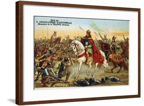 Charlemagne, King of the Franks, Accepting the Submission of the Saxons, 777--Framed Art Print
