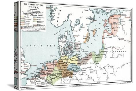 Map of the Extent of the Hanseatic League in About 1400--Stretched Canvas Print