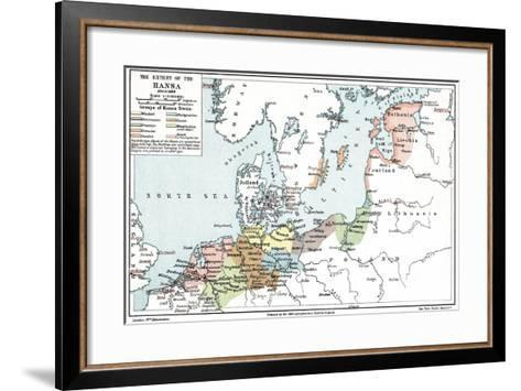Map of the Extent of the Hanseatic League in About 1400--Framed Art Print