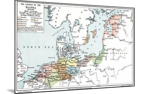 Map of the Extent of the Hanseatic League in About 1400--Mounted Giclee Print