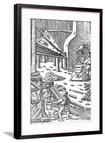 Steel Production: a Forge with Bellows to Produce Draught, 1556--Framed Art Print