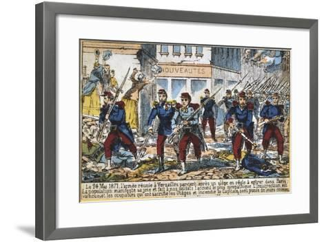 Government Soldiers Advancing into Paris to Suppress the Commune, 24th May 1871--Framed Art Print
