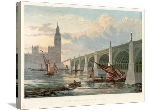 Westminster Bridge, London, Looking from the South Bank of the Thames, 1858--Stretched Canvas Print
