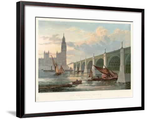Westminster Bridge, London, Looking from the South Bank of the Thames, 1858--Framed Art Print