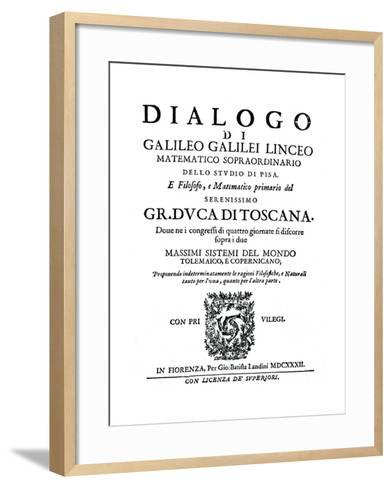 Title Page of Dialogo, by Galileo, 1632--Framed Art Print