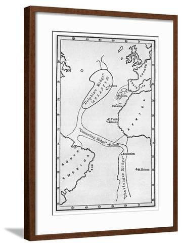 Atlantis: a Map Showing the Location of the Mythical Continent, C1882--Framed Art Print