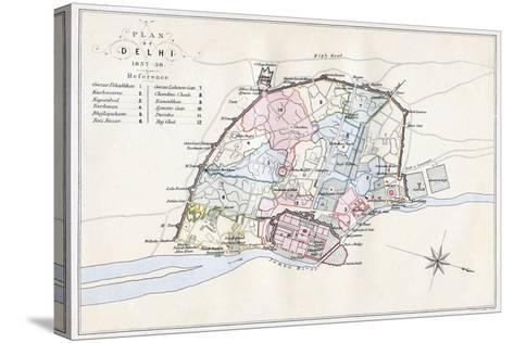 Plan of Delhi, India, 1857-1858- Guyoy & Wood-Stretched Canvas Print