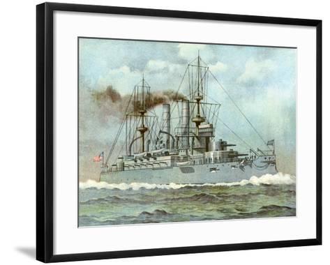 Uss 'Kearsarge, American Battleship, 1898--Framed Art Print
