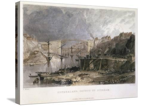 View of Sunderland and the Iron Bridge Looking Eastwards, 1833-Thomas Allom-Stretched Canvas Print