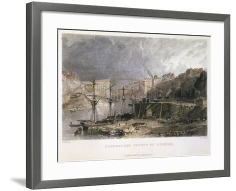 View of Sunderland and the Iron Bridge Looking Eastwards, 1833-Thomas Allom-Framed Art Print