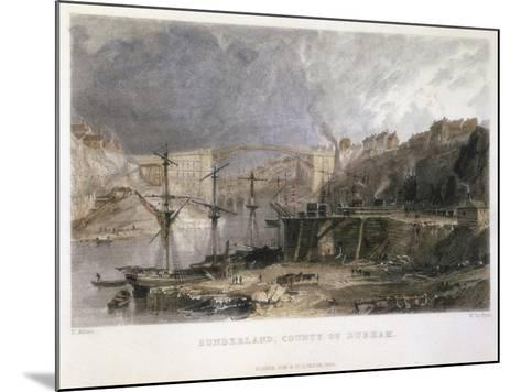 View of Sunderland and the Iron Bridge Looking Eastwards, 1833-Thomas Allom-Mounted Giclee Print