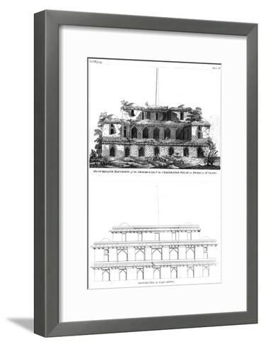 Picturesque Elevation of the Shikar Gah and the Celebrated Pillar at Delhi, June 1797--Framed Art Print