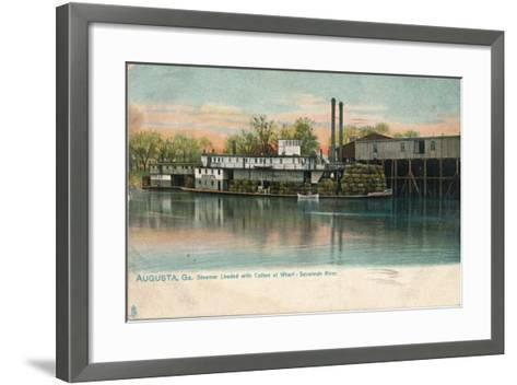 Steamer Loaded with Cotton at a Wharf, Savannah River, Augusta, Georgia, 1908--Framed Art Print