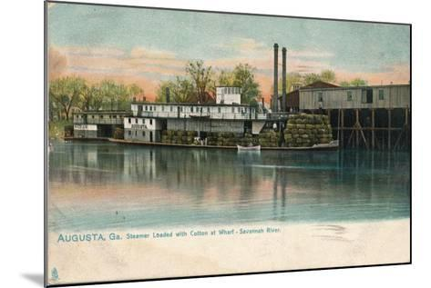 Steamer Loaded with Cotton at a Wharf, Savannah River, Augusta, Georgia, 1908--Mounted Giclee Print
