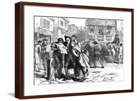 Bostonians Reading the Stamp Act, 1765--Framed Art Print